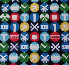 The Steam Team BTY Quilting Treasures Thomas the Train Railroad Signs
