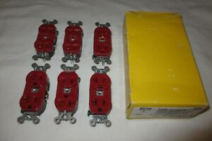 LOT 6 New Hubbell HBL5362R Red Duplex Receptacles NEMA 5-20R