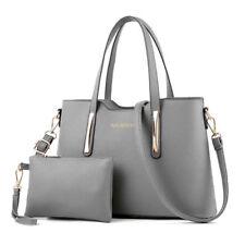 Womens Ladies 2pcs Leather SHOPPER Clutch Hobo Shoulder Bag Handbag Purse Tote Grey