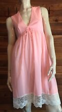 VINTAGE PINK SIZE SMALL CHIFFON NIGHTGOWN with LACE TRIM