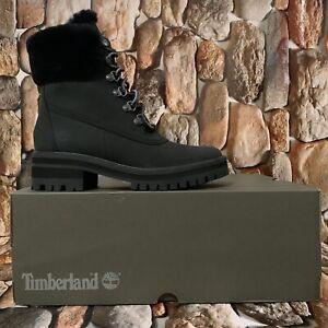 "Timberland Women's Courmayeur Valley 6"" WP Shearling Boot Black Nubuck Size:7.5M"