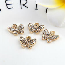 Gold Butterfly Beads Connector Rhinestones DIY Bracelet Bangle Findings 10pcs