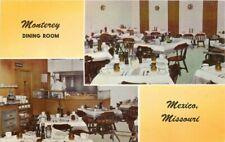Aurora 1940s Monterey Dining Room Mexico Missouri interior  Postcard 6529