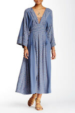 $168 Free People Modern Kimono Denim Combo Lt Blue Lace Up Maxi Dress 4 XS NEW