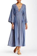 $168 Free People Modern Kimono Denim Combo Lt Blue Lace Up Maxi Dress 8 S M NWT