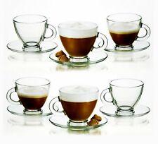 Clear Glass Espresso Coffee Tea Set 6 Cups & 6 Saucers Expresso Glassware 95ml