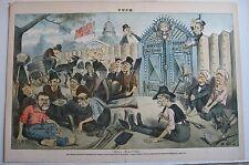 Puck Magazine antique print color lithograph politics 1883 White House GOP Dems