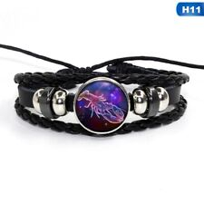 12Zodiac Signs Constellations Glass Button Woven Leather Bracelet Jewelry Cancer