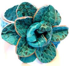 Bague en Cuir Fleur Taille Réglable Ethnique Femme Rose bleu turquoise