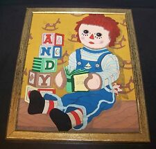 "Vintage Raggedy Andy Framed Art Print 15"" Picture Abc Blocks Book Rocking Horse"