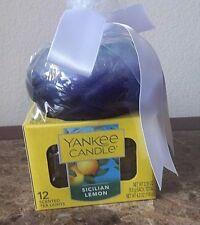 YANKEE CANDLE SICILIAN LEMON TEA LIGHT BOX OF 12 & HOLDER SET  Free Shipping
