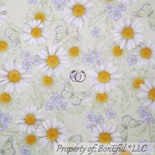BonEful Fabric FQ Cotton Quilt Green Purple White Yellow Daisy Flower Butterfly