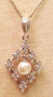 pendentif collier rétro couleur argent cristaux diamant perle pampille 4551