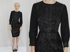 Vintage 50s Black FLORAL Brocade Sheer Slv Wiggle Retro Cocktail Party Dress~XS
