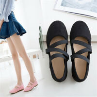 Women's Cross Strap Round Toe Ballets Loafers Solid Flats Casual Slip on Shoes