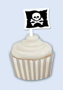 Pirate Party Silver Stripe Cupcake Wrap and Toppers - 12 Pack