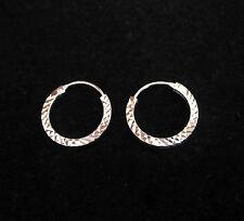 925 sterling silver 16mm diamond cut hoops earrings
