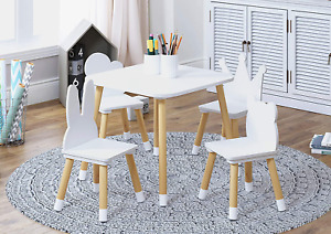 Utex Kids Table With 4 Chairs Set, Kid Table And Chairs Set For Girls, Toddlers,