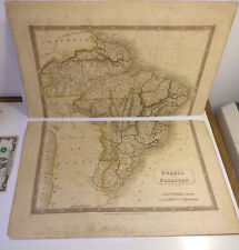 Antique MAP Brazil Paraguay 1828 engraved color South America Sidney Hall