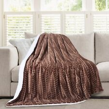 Hiyoko 3D Micromink Flannel Sherpa Super Soft Throw Blanket 60 X 80 Brown