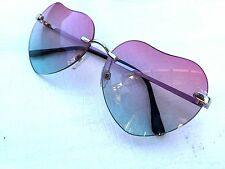 NWT Gradient Fashion Lolita Love Heart Shaped Rimless Pink Sky Blue Sunglasses