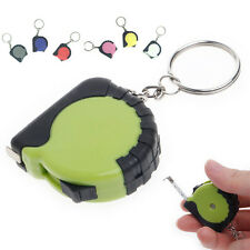 1M Mini Plastic Pocket Retractable Ruler Measure Tool Tape With Key hain Keyring