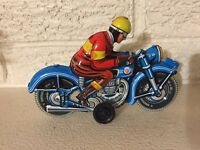 Red Yellow Blue Motorcyclist  Made in Germany Friction Tin Litho New JW Toys