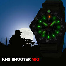 KHS Tactical Watches Black Shooter H3 Field Date Army Strap Oliv Swiss Movement