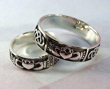 925 Sterling Silver Wedding Bands Set Claddagh Irish Celtic Engagement Ring Set