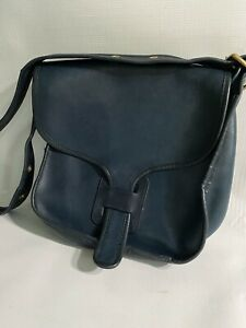 Vintage Large COACH Courier Pouch Bag Navy Blue Leather Brass Pre Creed