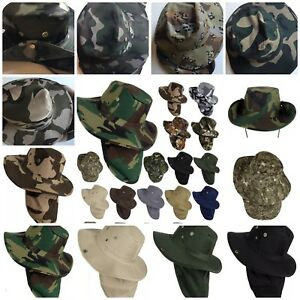 Hat Fishing Army Military Hiking Snap Brim Neck Cover Bucket Sun Flap Cap M-XL
