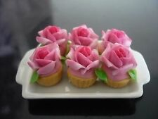 6 Cupcake Pink Rose Top on Tray Dollhouse Miniatures Food  Bakery Valentine Day