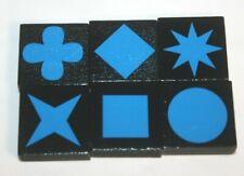 QWIRKLE Replacement Pieces 6 BLUE Tiles Parts Set (1 of each shape!) Mindware