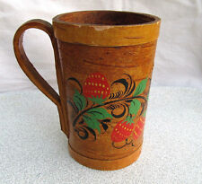 OLD ANTIQUE PRIMITIVE WOODEN MUG CUP HAND CARVED HAND PAINTED