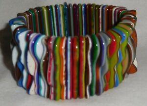 Sobral Pindorama Multi Color Squiggles Stretch Bracelet Brazil Import
