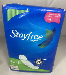 Stayfree Maxi Pads Jumbo Pack Comfortably Dry for up to 8 Hours 48 count New