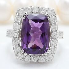 8.40 Carat Natural Purple Amethyst and Diamonds in 14K Solid White Gold Ring