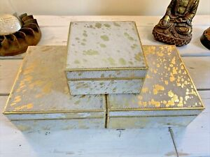 SET OF 3 White and Gold Leather BOXES COWHIDE METALLIC STORAGE JEWELRY
