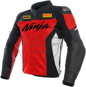 Kawasaki Ninja Black Red Leather Jacket Kawasaki Motorcycle Safety jacket