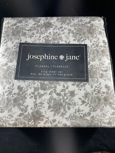 Josephine & Jane Gray Floral Bouquet King Flannel Sheets New
