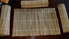 4 Natural Bamboo Placemats Table Kitchen Indoor Outdoor Dining Camping
