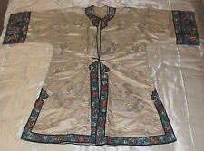 Vestido De Bata De Seda Antiguo Chino, logotipo bordado dragones y flor Motif fronteras 1920s