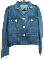 Mixit Womens Size 12 Medium/Large Button Up Heavy Cotton Blue Jean Denim Jacket