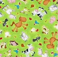 Green Animal Farm Print Allover Fabric Material