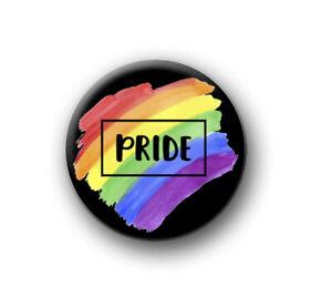 "PRIDE / 1"" / 25mm pin button / badge / LGBT / lesbian / gay / bi / trans / love"