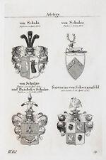 1837 4 Wappen Schulz Schulze Dziobek Sartorius Schwanenfeld Kupferstich Tyroff