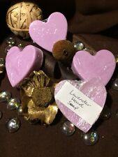 Lavender Scented Handmade Goats Milk Heart Shaped Soaps 4 X Large Bars
