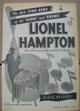 Lionel Hampton 1948 Ad- The All Time King Of Vibes and Drums  Decca