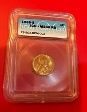 1938 S ONE CENT ICG MS 64 RD FS-502, RPM-002