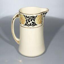 """Vintage French Art Deco Ceramic Pitcher, Moulin des Loups & Hamage, """"Bruges"""""""